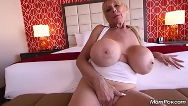 MomPOV - Shelly  59yrs (Blonde Cougar With Gigantic Tits Anal Freak)