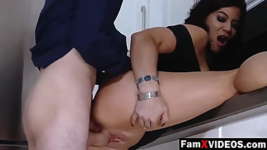 Stepmom caught me and gave me a handjob