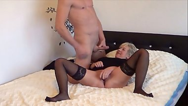 German Granny Caught Masturbating and Seduced to Fuck by Young Guy